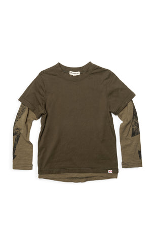 APPAMAN Boys Long Sleeve Olive T Shirt