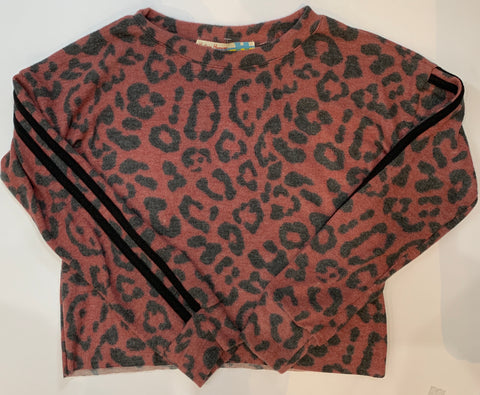 VINTAGE HAVANA Girls Leopard Print Top with Stripes
