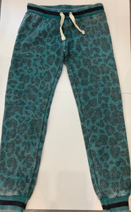 VINTAGE HAVANA Girls Teal Leopard Sweatpants