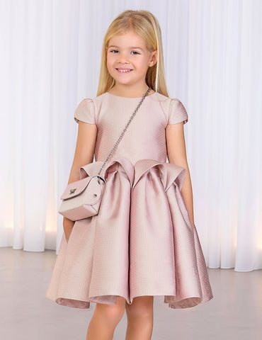 ABEL & LULA Girls Pink Satin Jacquard Dress