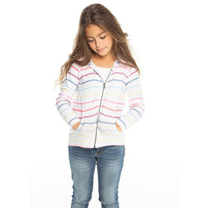 CHASER Girls' Rainbow Stripe Zip Up Hoodie