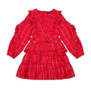 VELVETEEN Girls Long Sleeve Red Lurex Dress