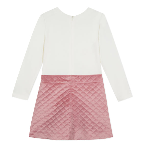LILI GAUFRETTE Ivory and Pink Quilted Dress