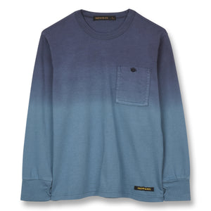 FINGER IN THE NOSE Blue Dip Dye Long Sleeve Tee