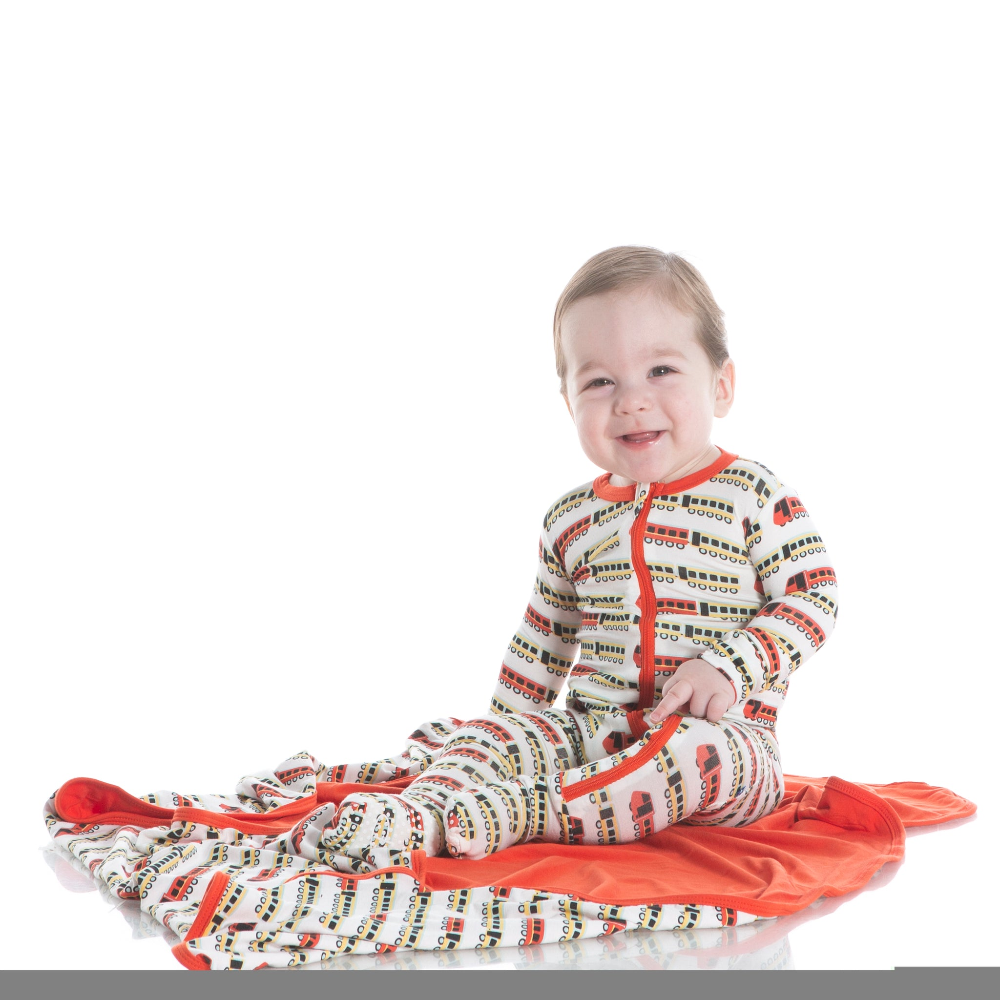 KICKEE PANTS Train Print Footie Coverall