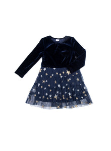 EGG BABY Girls Millie Navy Dress with Tulle Skirt