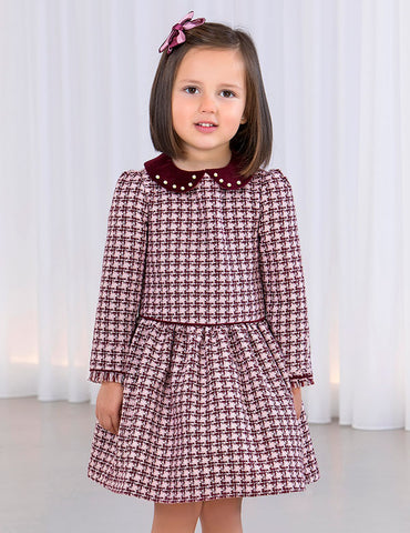 ABEL & LULA Girls Long Sleeve Plaid Collared Dress