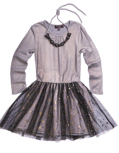 IMOGA Girls Samantha Long Sleeve Dress with Tulle Skirt