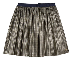 LILI GAUFRETTE Metallic Gold Pleated Skirt