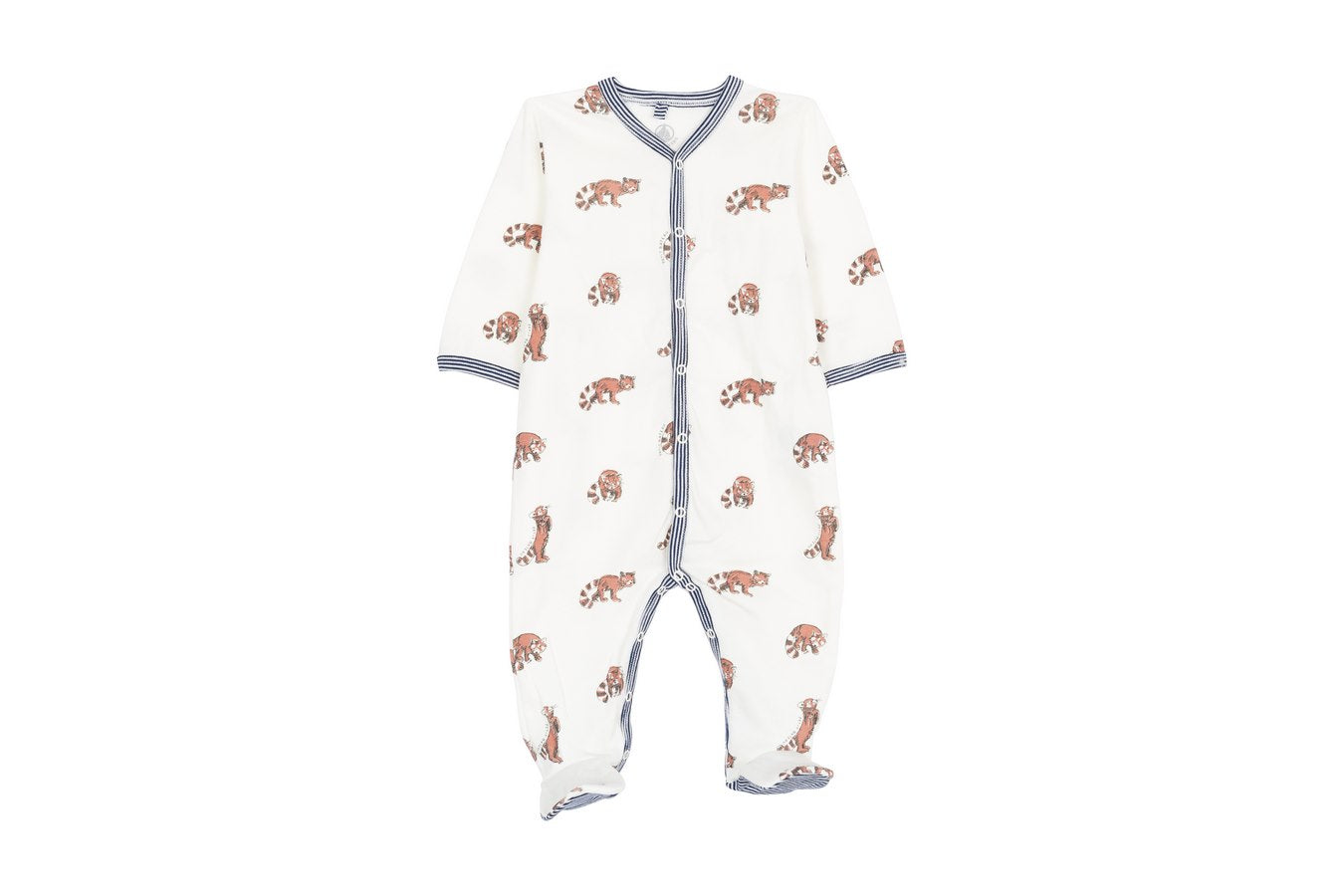 PETIT BATEAU Long Sleeve Fox Print Footie Romper