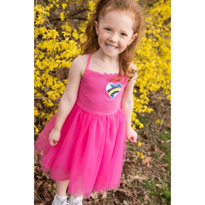 SPARKLE BY STOOPHER Strappy Tulle Dress with Rainbow Sequin Heart