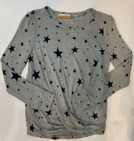 VINTAGE HAVANA Star Knot Front Long Sleeve Top