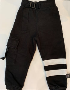 NUNUNU Boys Black Cargo Sweatpants