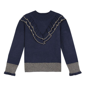 LILI GAUFRETTE Navy and Gold Sweater