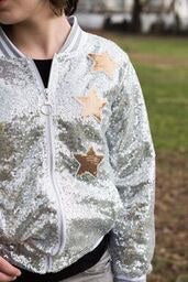 SPARKLE BY STOOPHER Girls Silver Sequin Jacket