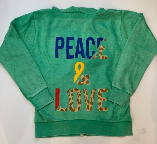 VINTAGE HAVANA Peace Love Zip Up Hooded Sweatshirt