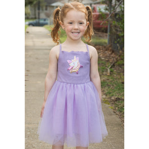 SPARKLE BY STOOPHER Strappy Tulle Dress with Sequin Unicorn