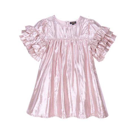 VELVETEEN Girls Gold/Pink Stripe Dress