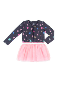 EGG BABY Girls Long Sleeve Star Print Dress with Tulle Skirt