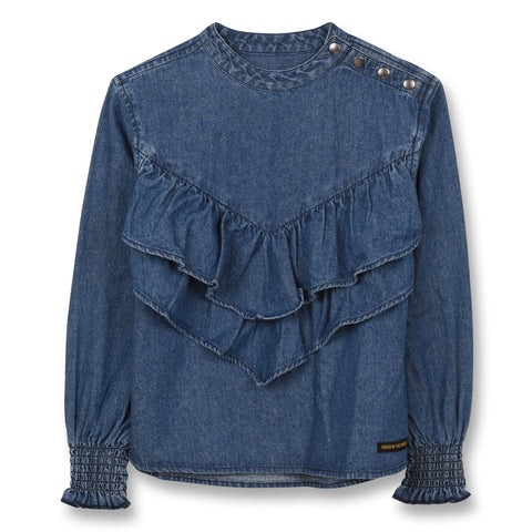 FINGER IN THE NOSE Girls Denim Ruffle Top