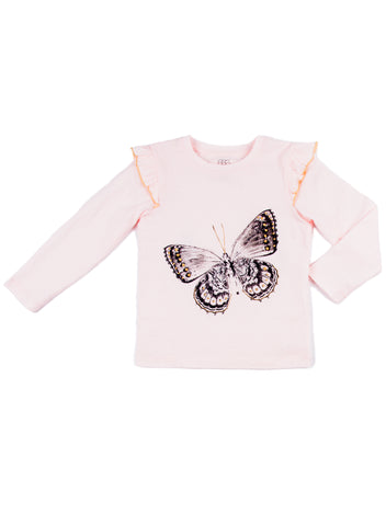 EGG BABY Girls Long Sleeve Top with Butterfly and Ruffle Sleeve
