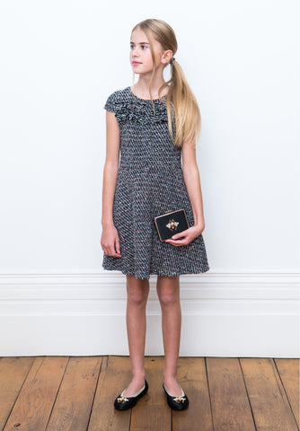 DAVID CHARLES Girls Black Tweed Sleeveless Dress