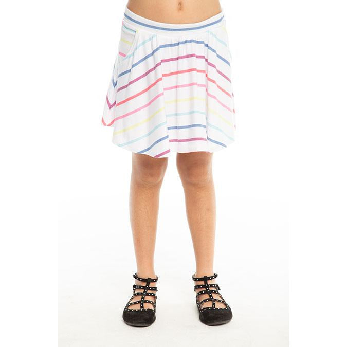 CHASER Girls' Rainbow Stripe Knit Skort
