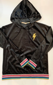 VINTAGE HAVANA Girls Black Velvet Hoodie with Rainbow Stripes