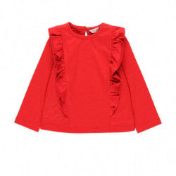 BOBOLI Girls Red Ruffle Long Sleeve Top