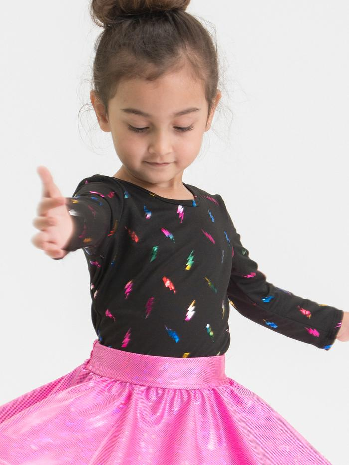 LITTLE MASS Girls Rainbow Lightning Bolt Long Sleeve Top