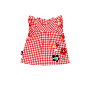 Boboli Red Checkered Infant Dress
