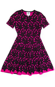 MILLY Girls Pink/Black Floral Mesh Jacquard Dress