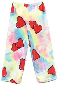 Fuzzy Flurry Tye Dye Hearts Lounge Pants