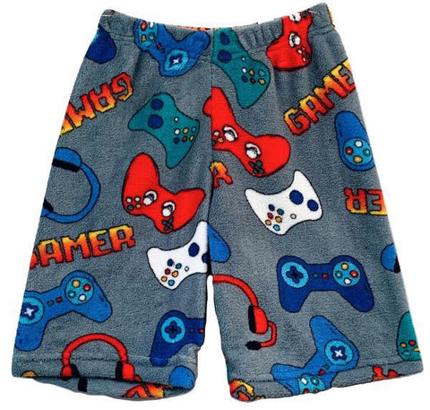 "Fuzzy Grey ""GAMER"" Boys Long Shorts"