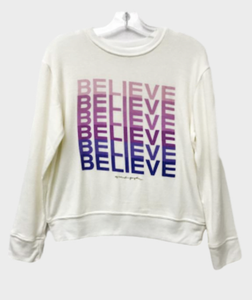 Spiritual Gangster Believe Girls Crew Neck Sweatshirt