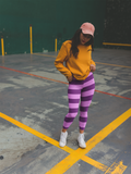 Pink and Purple Striped Leggings