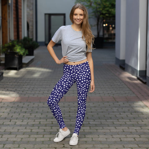 Blue and White ankle length Leggings