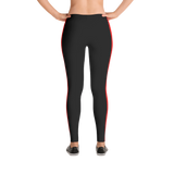 Stripe Down Leggings - Black w/Red, Polyester and Spandex, Printed Leggings for Women