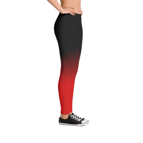 88d3d7615 Mid-Rise Black and Red Ombre Leggings