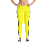 Stripe Down Leggings - Yellow w/Black, Polyester and Spandex, Printed Leggings for Women