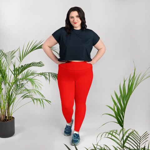 Fire Red High Waist Plus Size Leggings