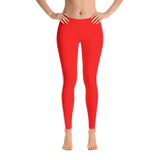Stripe Down Leggings - Red w/White, Polyester and Spandex, Printed Leggings for Women