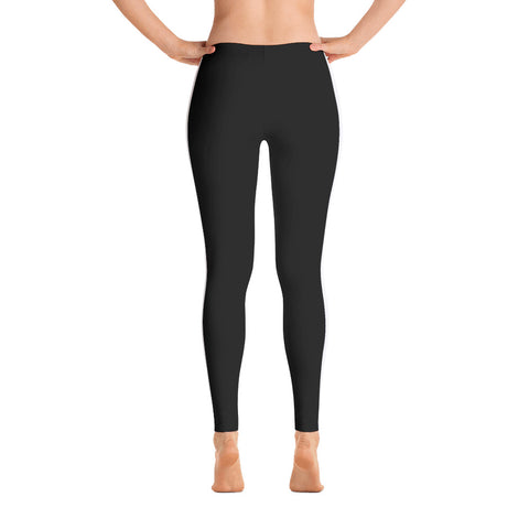 Women's Black Leggings with White Stripe