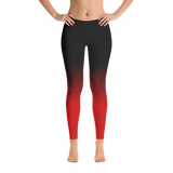 Mid-Rise Black and Red Ombre Leggings