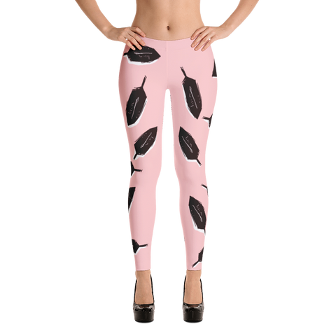 Feathers in Pink Leggings