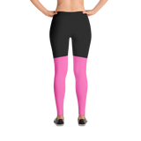Two Tone Black and Hot Pink Leggings