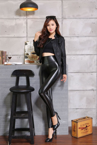 High Waisted Leather Leggings Outfit in black