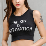 Womens Motivation Padded Workout Yoga Bra Quick Dry Slim Fitness Sports Top