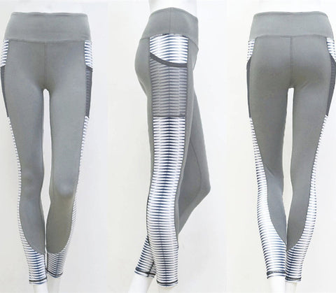 High Waist Leggings Women With Pocket and Silver Stripe