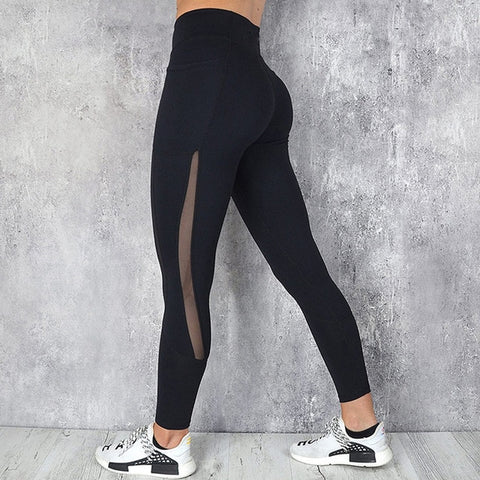 Black Leggings with High Waist and Mesh Pocket